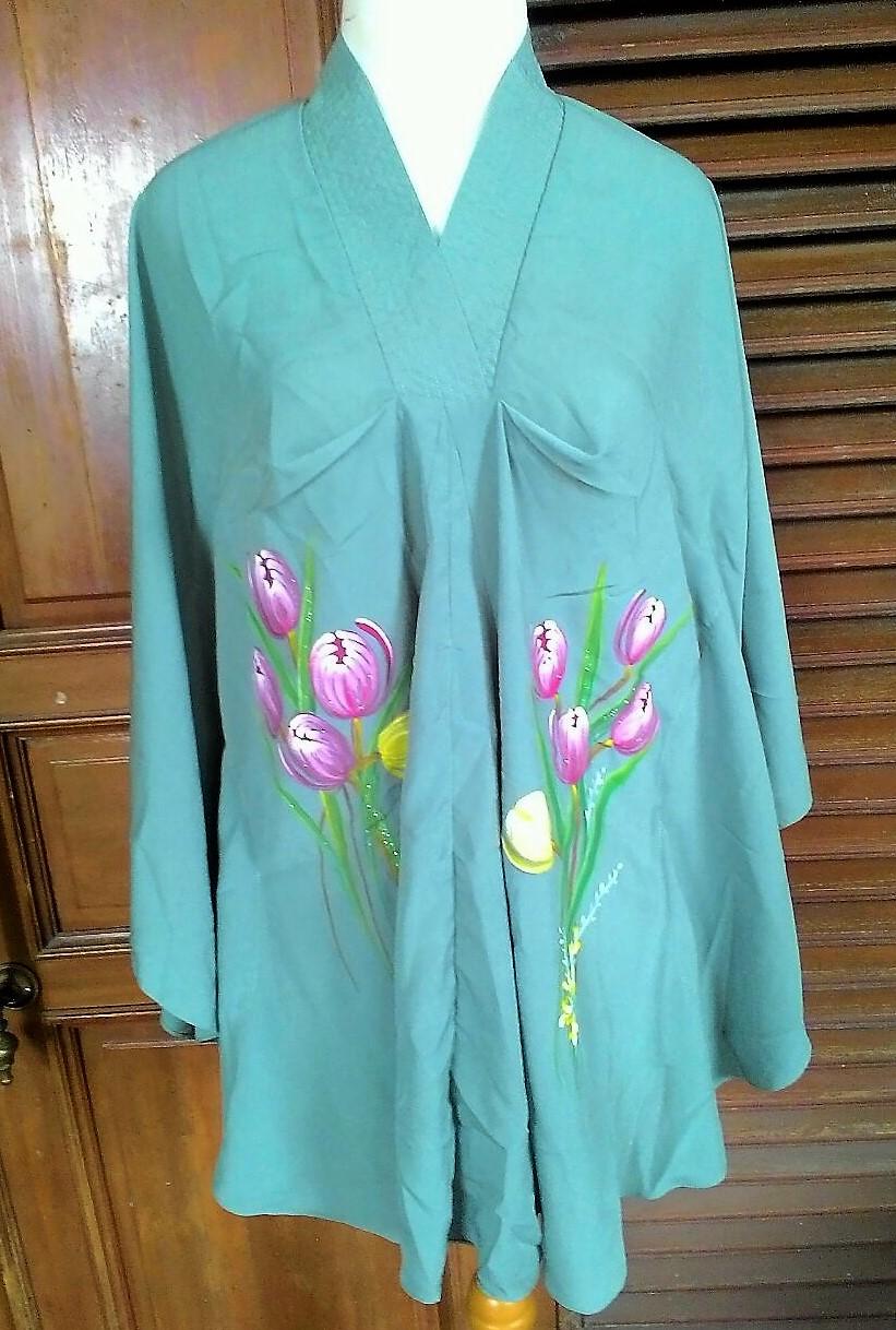 Baju Lukis Berkerah Handmade Bunga Tulip